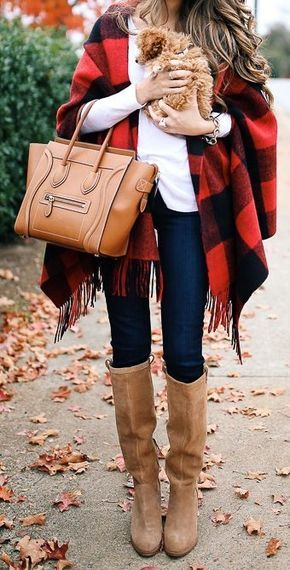 #thanksgiving #fashion · Tartan Cape // White Tee // Camel Boots // Skinny Jeans // Brown Leather Tote Bag