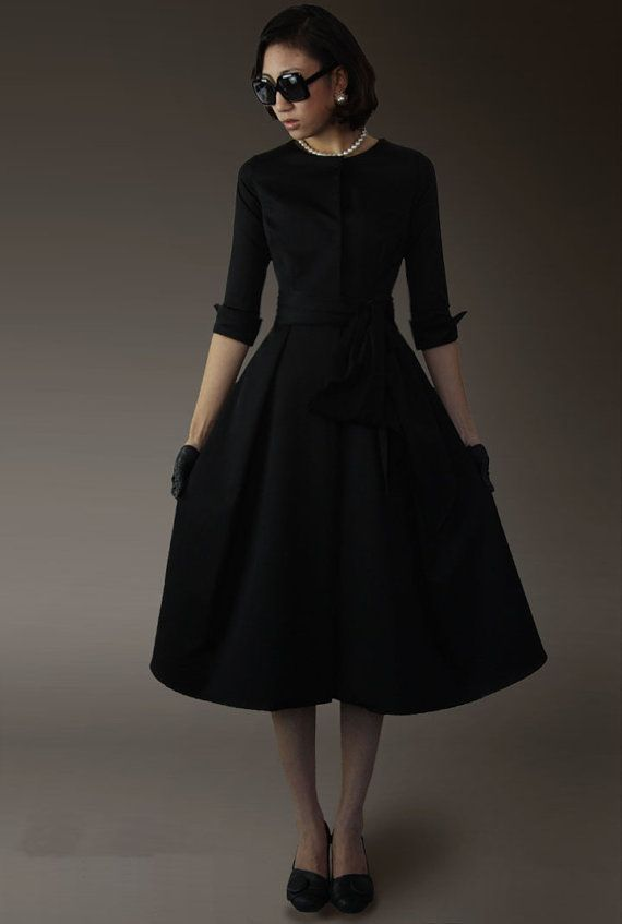 Black Tunic Fitted Windbreaker Empire Waist Coat Big