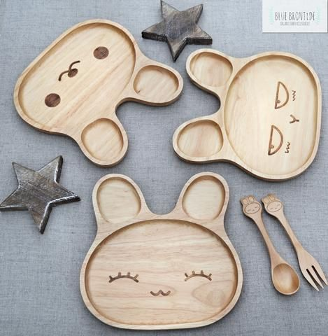 Wooden Rabbit Baby/Child's Plate (L)