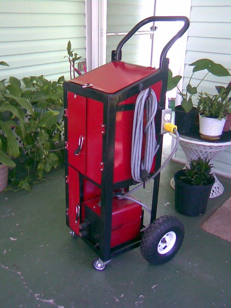 Welding Cart by maintman712 -- Homemade welding cart fabricated from steel angles and sheetmetal panels. Equipped with front swivel casters and rear wheels. http://www.homemadetools.net/homemade-welding-cart-2