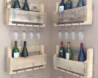 Rustic wine rack reclaimed wood made from by Palletfurnitureuk