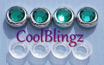 GREEN Rhinestone Screw Caps for Crystal Diamond Bling License Plate Frame