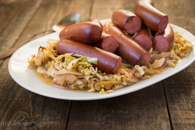 """Feed a pack of hungry folks with no fuss! This crock pot cabbage & Kielbasa recipe is your new best friend. """"Crock Pot Recipes: Low Carb-Cabbage & Kielbasa Sausage"""" ~ http://www.halfhersize.com"""