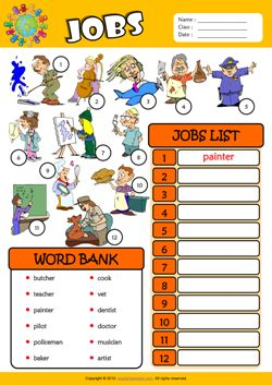 jobs esl find and write the words worksheet for kids