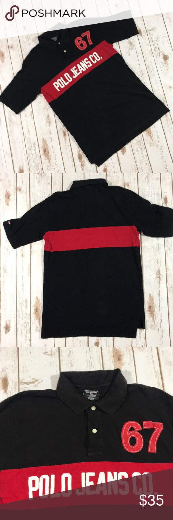 "POLO JEANS CO. Men's vintage polo black shirt S Men's Small. No rips or stains. Good condition.  Pit to pit 20"" Front Length 281/2""  Back Length 30 100 Cotton. Polo Jeans Co. Shirts Polos"