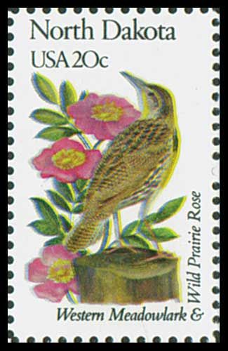 1982 20c N. Dakota State Bird & Flower - Catalog # 1986 For Sale at Mystic Stamp Company