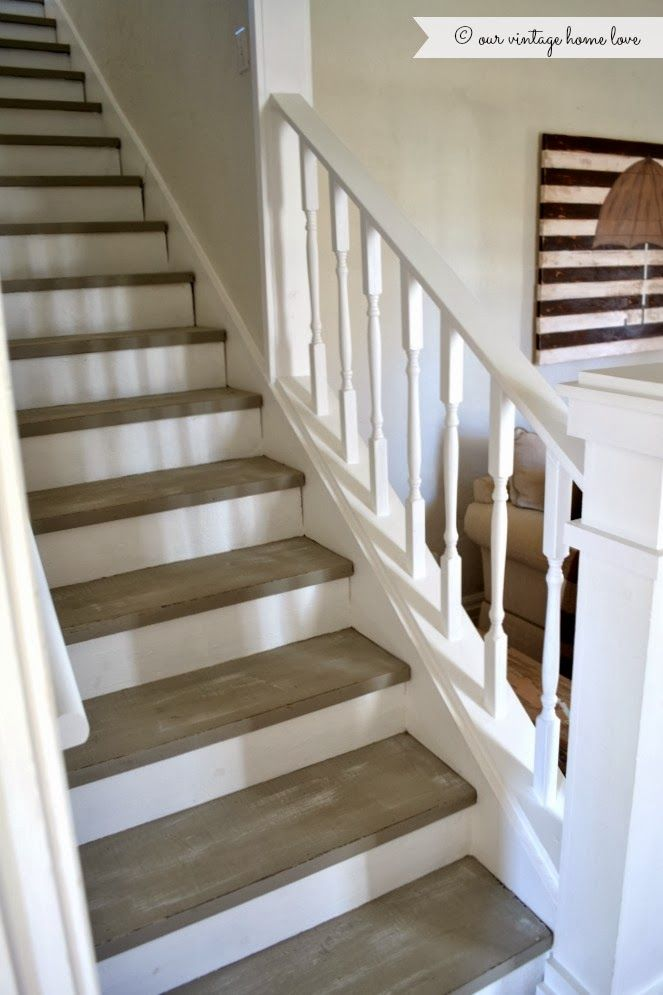 The stairs were painted with Annie Sloan chalk paint in French Linen, distressed, then dry brushed with a little white paint. If they get scratched up ... it will just add to the distressed character.