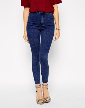 ASOS Rivington High Waist Denim Ankle Grazer Jeggings in Mottled Acid Wash