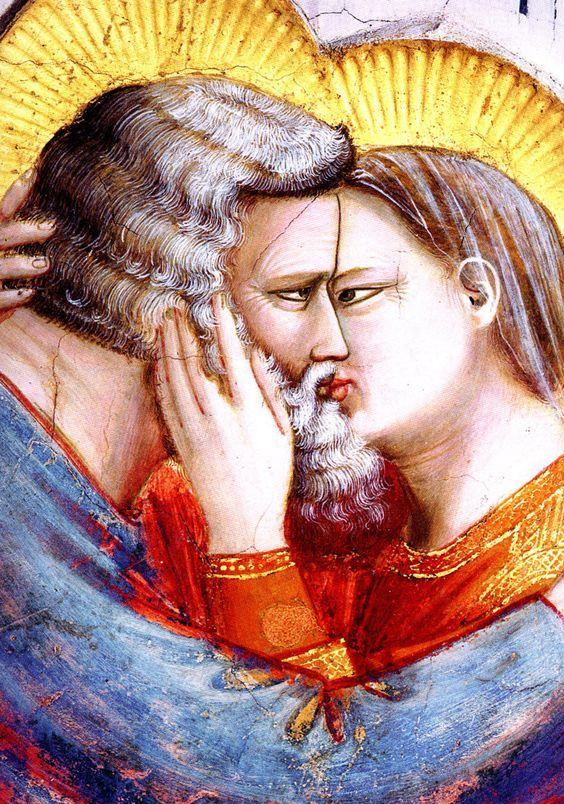 Giotto, particolare del bacio tra Gioacchino ed Anna, cappella degli Scrovegni a Padova