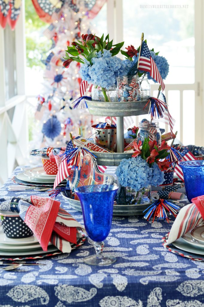 Celebrating The Red White Blue Patriotic Table On The Porch