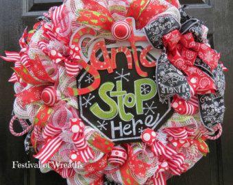Noel Burlap Deco Mesh Wreath Christmas by WhisperCreekWreaths