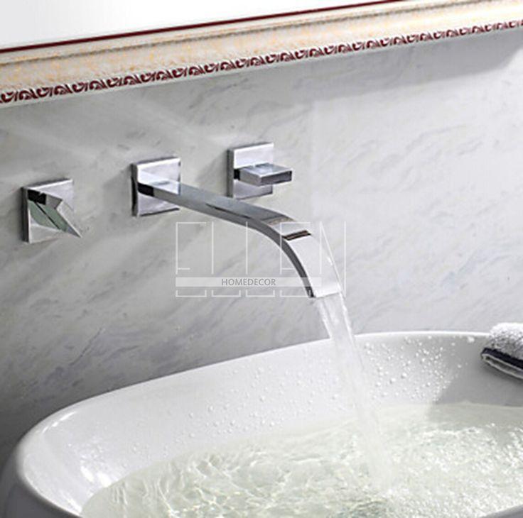 Montado na parede torneira dupla alça misturador torneira para banheiro bacia sink latão cromado torneira do banheiro navio em Torneiras de lavatório de Melhoramento Da casa no AliExpress.com | Alibaba Group