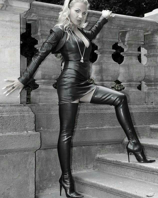 Milf in pvc coat amp leather lace up basque - 2 3