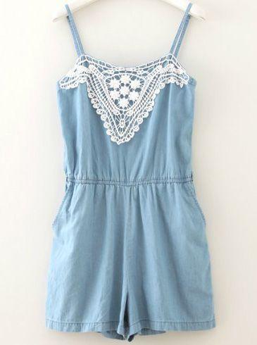 Blue Spaghetti Strap Lace Denim Jumpsuit - Sheinside.com