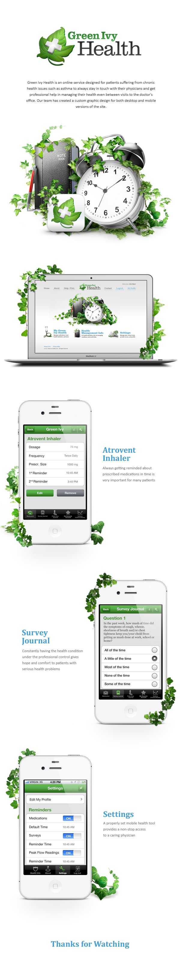 Green Ivy by Alex Ds Karera, via Behance *** Green Ivy Health is an online service designed for patients suffering from chronic health issues such as asthma to always stay in touch with their physicians and get professional help in managing their health even between visits to the doctor's office...
