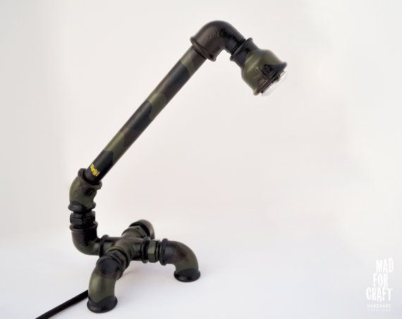 Industrial Electric Desk Lamp in Camouflage by MadForCraftGR