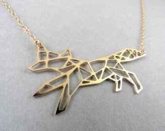 volpe collana fox geometrica collana testa di BonnyRabbitBoutique