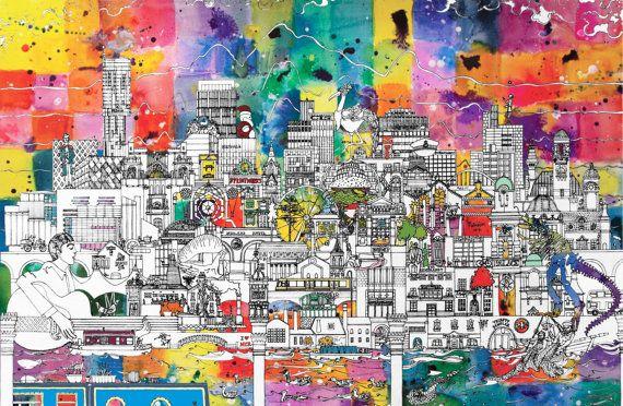 Manchester Skyline - A Unique and Vibrant Art Print