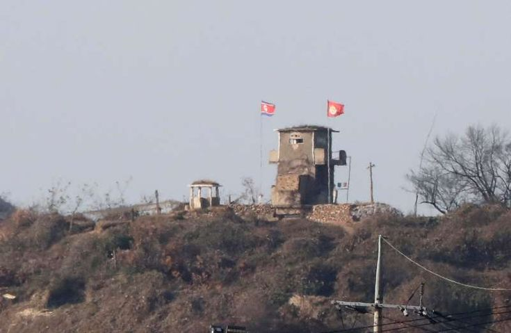 This is a North Korean military guard outpost seen from Paju, South Korea, Nov. 14, 2017. Four North Korean soldiers fired 40 rounds at a comrade fleeing into South Korea and hit him five times in what is the first shooting at the jointly controlled area of the heavily fortified border since 1984.