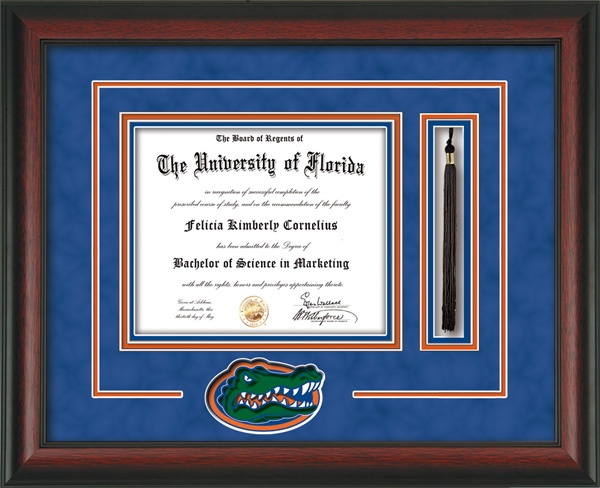 University of Florida Diploma Frame - UF Gators - with hardwood moulding and laser Gator cutout and tassel holder.  Also features blue suede on orange mats and UV glass to protect your investment from fading over time.  And to keep those memories as alive as the day you earned them! Go Gators!