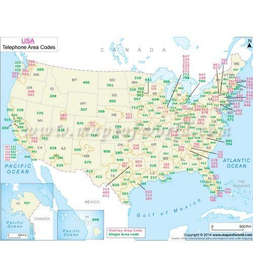 Buy US Telephone Area Code Map