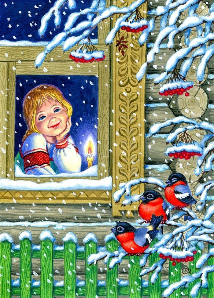 Сообщество иллюстраторов | Иллюстрация Михаил - Снегири прилетели.. Детский. Акрил