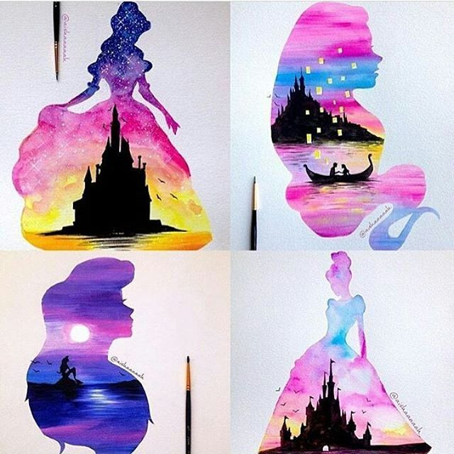 """3,944 Likes, 21 Comments – Art – Painting, Drawing (@welkincanvas) on Instagram: """"Guess the Princesses?  Disney Princesses by @aishaaaaah, one of ou…"""