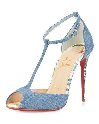 "Christian Louboutin denim sandal. Palm-print embossed leather trim. 4"" covered…"