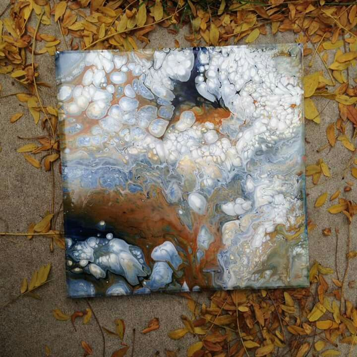 Acrylic and pouring medium.white, caramel and Prussian blue in Americana paints