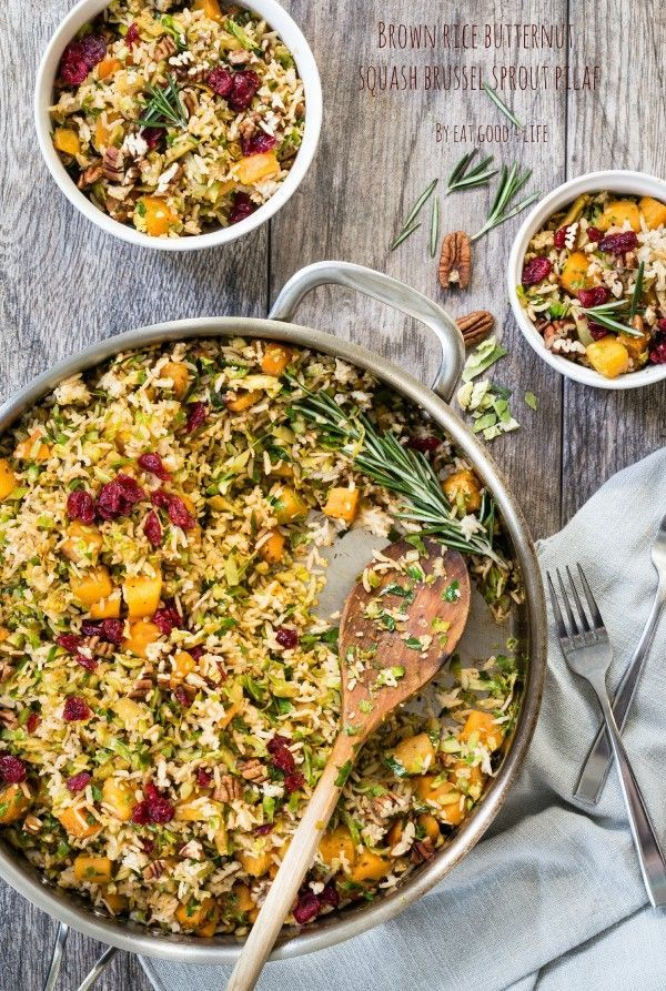 Brown rice butternut squash brussels sprouts pilaf. Gluten free and vegan. This can be done in just 20 minutes. Super tasty and healthy!