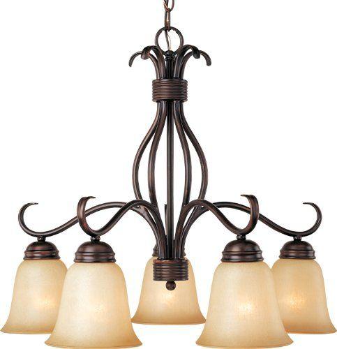 Maxim Lighting 10124WSOI Basix 5-Light Chandelier Down Light Oil Rubbed Bronze with Wilshire Glass
