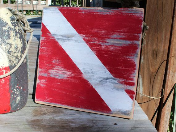 Dive Sign Vintage Style Nautical Home Decor by justbeachyshop. , via Etsy.