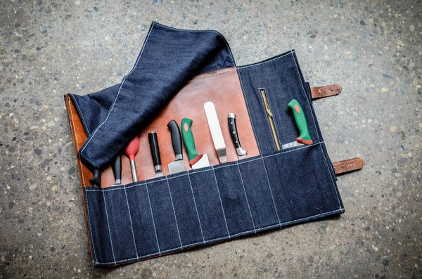 blue denim leather knife roll bernheisel mercantile pinterest leather products and knives. Black Bedroom Furniture Sets. Home Design Ideas