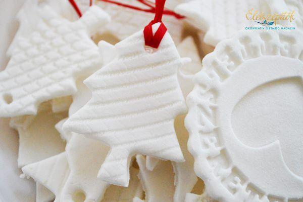 Szódabikarbóna, búzakeményítő és víz felhasználásával egyedi karácsonyfadíszeket készíthetünk. Ha foszforeszkálópigmentport vagy homokot keverünk a masszába, a díszek sötétben világítanak, ha néhá…