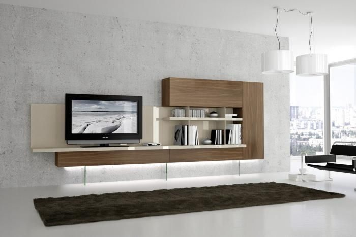 Original mueble moderno para sal n en roble blanco for Mueble salon blanco y roble