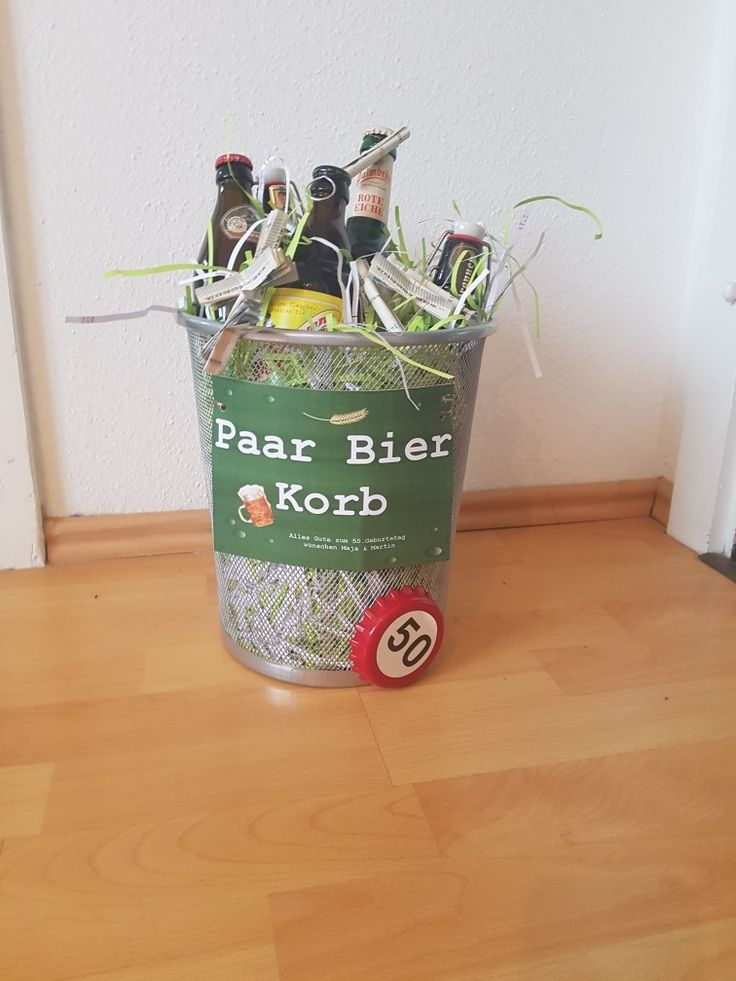 Paar Bier Korb, Geschenk Bier, Geburtstag, Männer