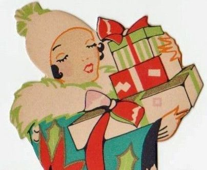 Art Deco christmas shopper 1930s