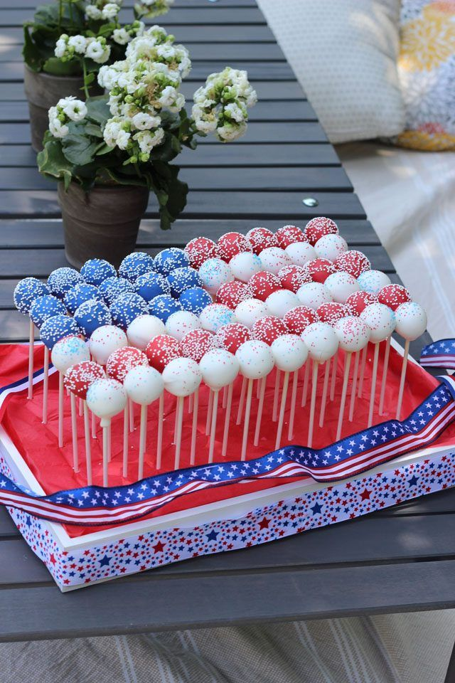 Red, white and blue cake pops arranged like a flag make a festive edible centerpiece for the 4th of July and other patriotic occasions.