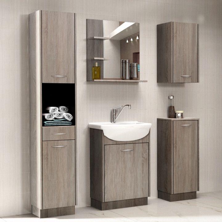Kúpeľňa - Tempo Kondela - Olivia  Izba obsahuje: 1x Kúpeľňová skrinka 1x Kúpeľňová skrinka pod umývadlo 1x Kúpeľňová skrinka 1x Zrkadlo 1x Kúpeľňová skrinka na stenu 1x Umývadlo