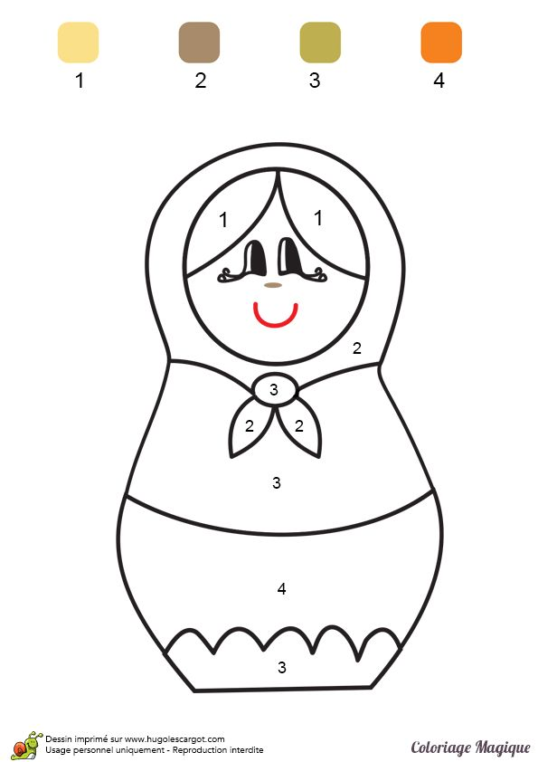 coloriage magique maternelle matriochka à imprimer sur hugolescargot.com Plus