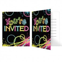 Glow Party Supplies, Glow Party Invitations, Invitations