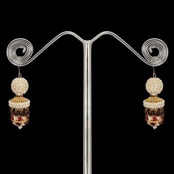 White and Red Stone Studded Earring