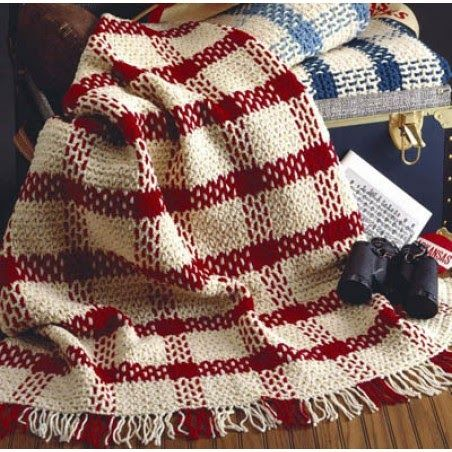 Easy to crochet plaid afghan pattern and blankets to crochet using two strands of yarn.