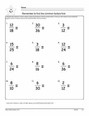 9 Worksheets on Simplifying Fractions for 6th Graders | Math ...