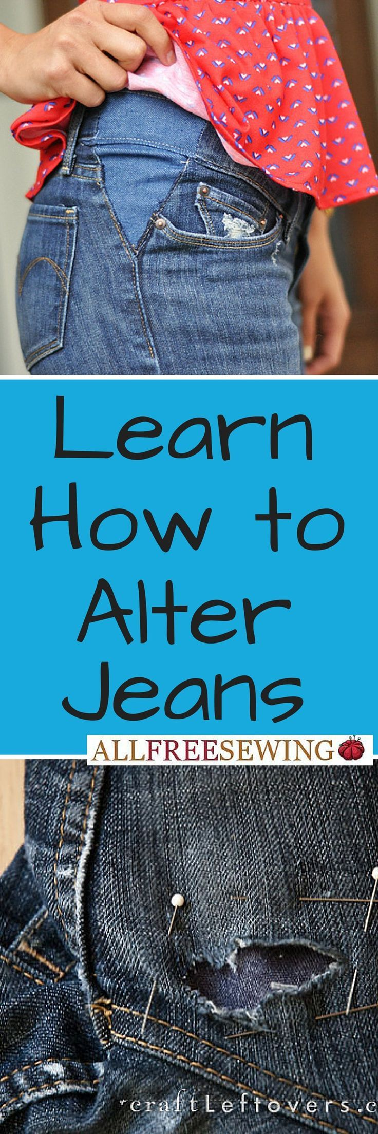 awesome Learn how to alter jeans and other denim pieces on AllFreeSewing.com...