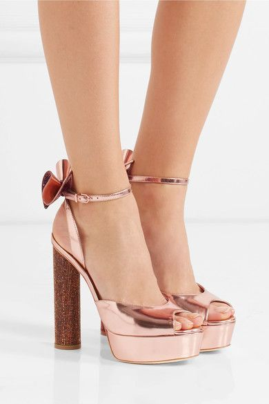Crystal-embellished heel measures approximately 130mm/ 5 inches with a 35mm/ 1.5 inches platform Rose gold leather Buckle-fastening ankle strap  Imported