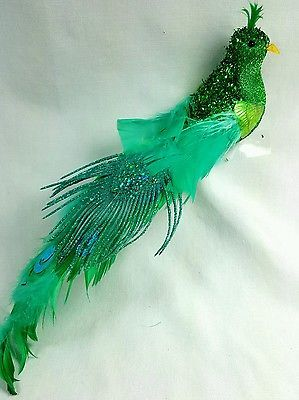 Green/Turquoise Glittered Peacock Feather Bird Peacock Theme Wedding Cake Topper