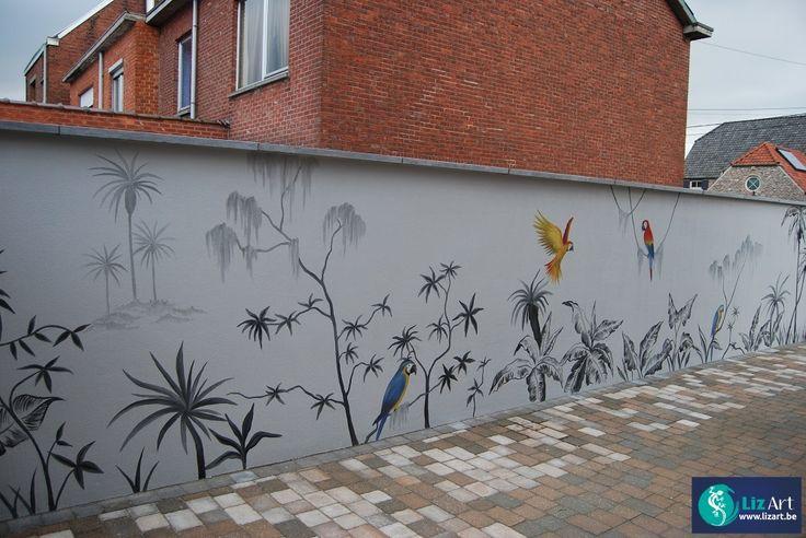 Muurschildering buitenmuur met exotische vogels en planten. on Lizart  http://lizart.be/wp-content/uploads/muurschilderingen-van-dieren/muurschildering-buitenmuur-vogels.JPG