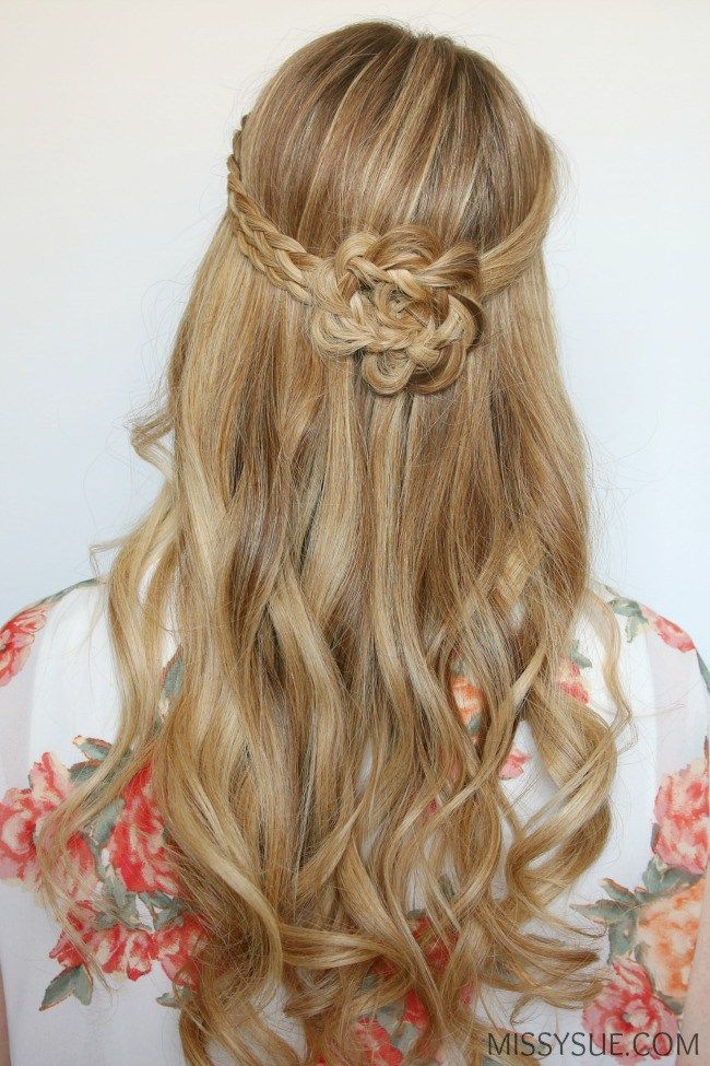 half-up-braided-flower-flat-iron-curls | Hair Tutorials ...