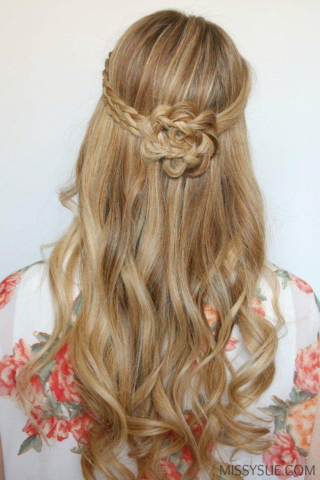 Half Up Braided Flower Flat Iron Curls Hair Tutorials